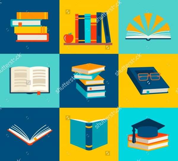Books set in flat design Vector