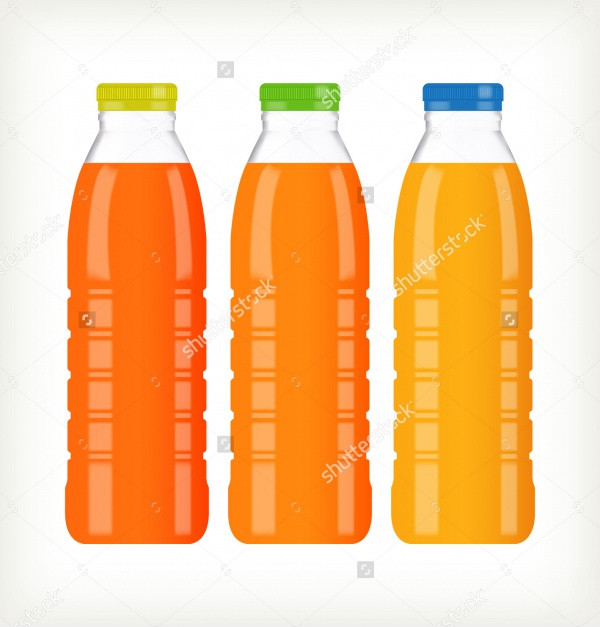 Bottles with juice isolated Mockup