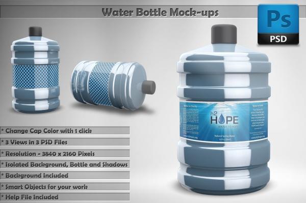Branding Blue Water Bottle Mockup