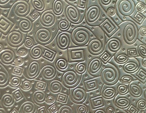 Brass Textured Metal Sheet Doodle Pattern