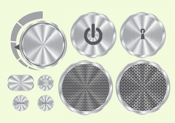 Brushed Aluminum Vector Buttons