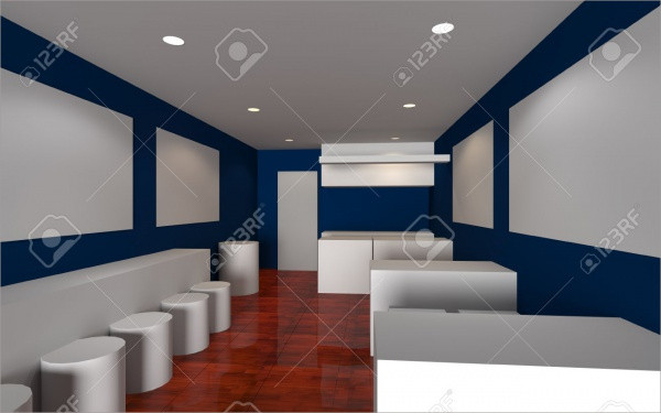 Cafe shop Inter 3d render mock-up
