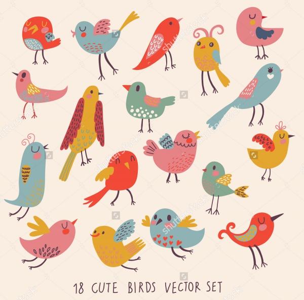 Cartoon set Cute birds vector