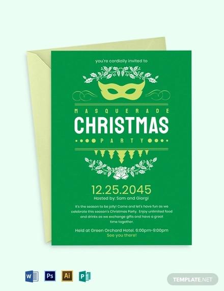 christmas masquerade invitation template