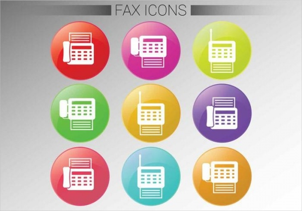 Circle Fax Icon Vector Set