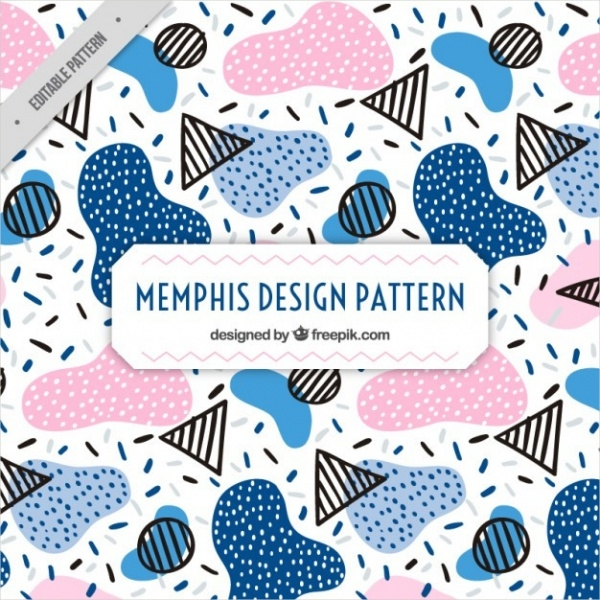 Colored shapes memphis pattern