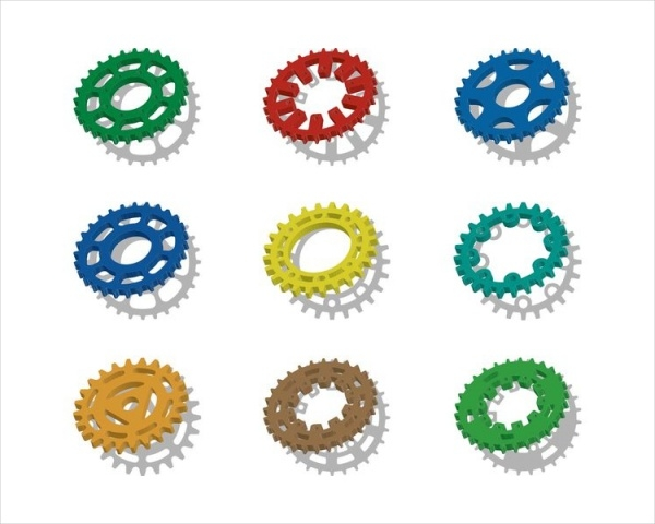 Colorful Bike Sprocket Vectors