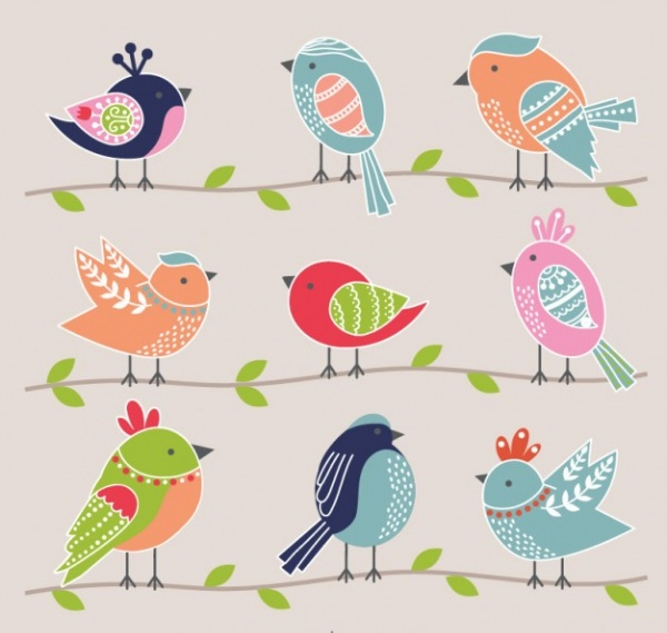 Colorful Lovely birds Vector