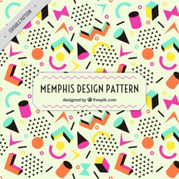 Colorful figures memphis pattern