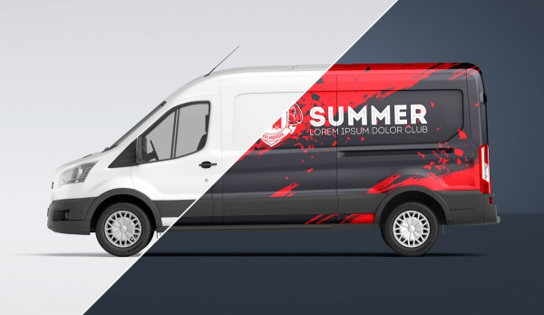 Commercil Van Transport Mockup