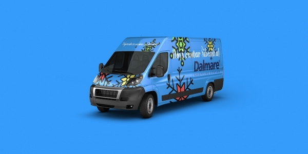 Cool Blue Van Mockup