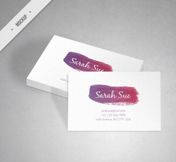 Corporative Card Mock-up With Watercolor Brush
