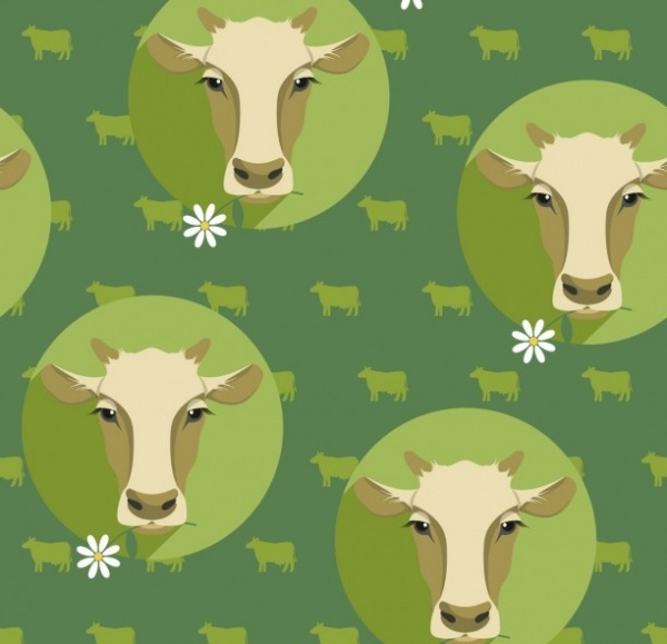 Cow pattern in flat design style