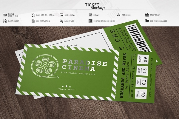 Customizable Ticket Mockup