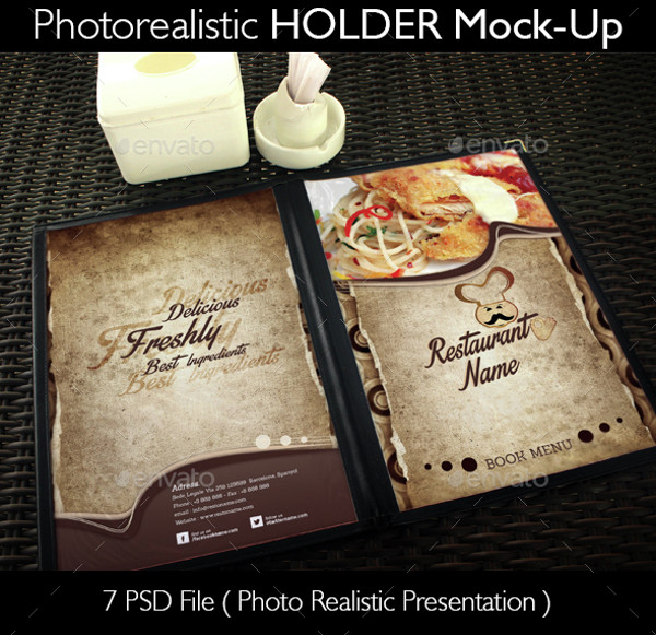 Customized Restaurant Menu Holder Mockup