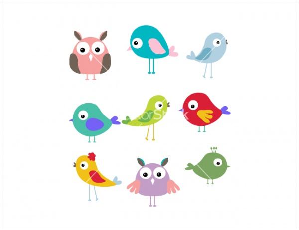 Cute bird cartoon set vector