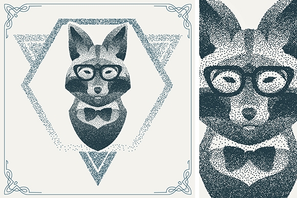 Dotwork hipster fox
