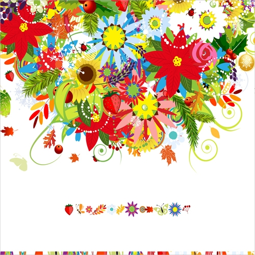 EPS Colorful flowers design elements vector