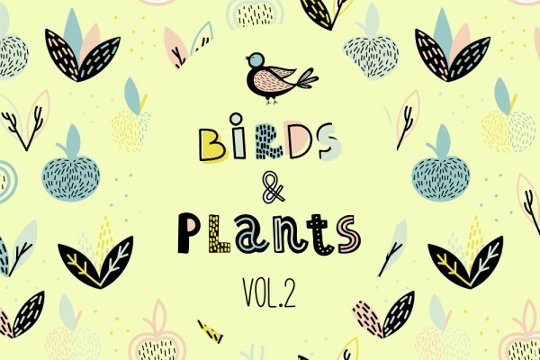 Editable Birds & Plants Patterns