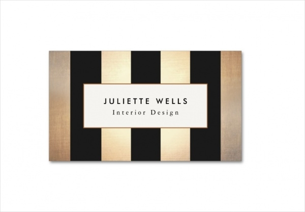 Elegant Gold and Black Striped Interior Designer Business Card