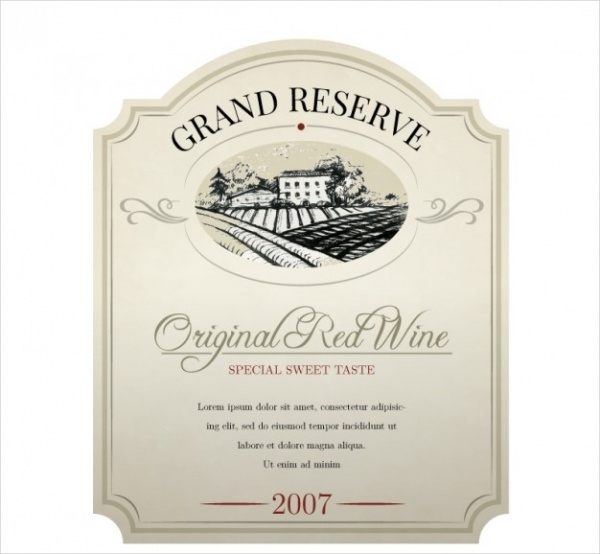 Elegant Wine Label Free Vector
