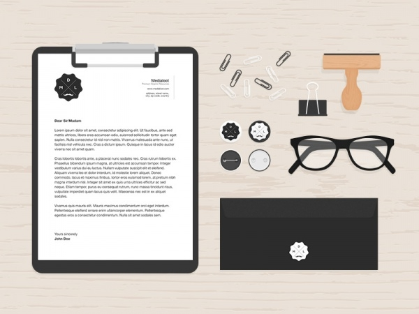 Flat Clipboard Desk items Mockup