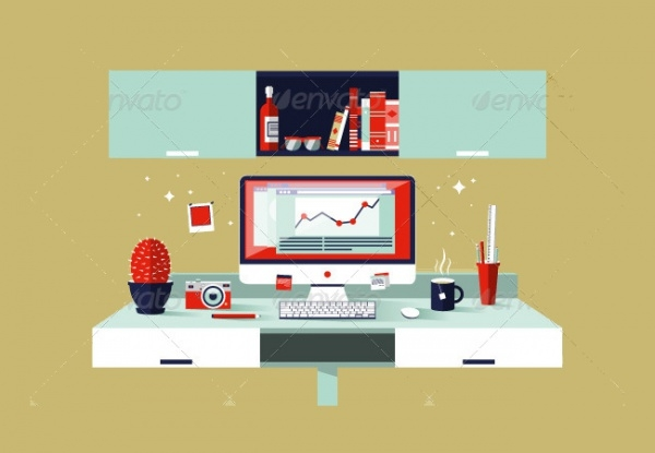 Flat Design Vector WorkSpace