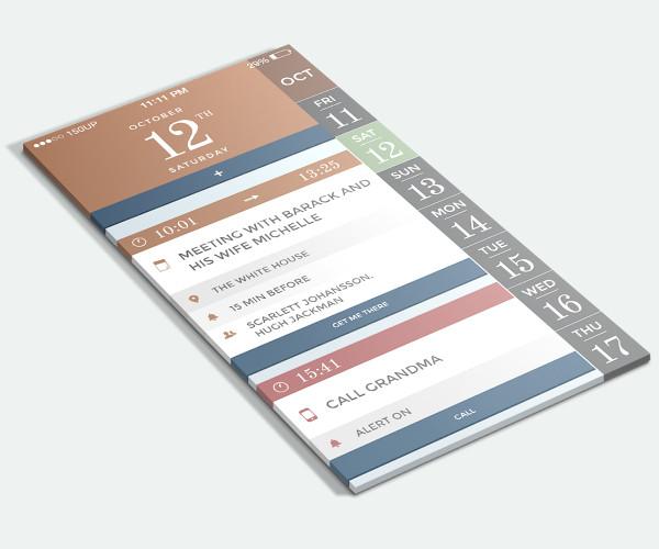 flat interface calendar mockup