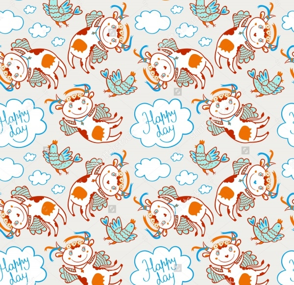 Flying Funny Cow And Chicken Pattern