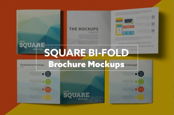 Folded Graphic Square Brochure Mockup