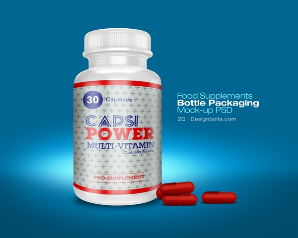 Food Supplement Packaging Bottle Mock-up