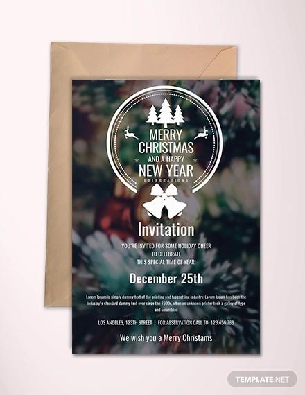 free minimal christmas invitation template