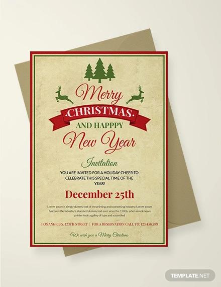 free vintage christmas invitation template