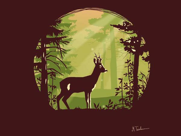 Fully Customizable Green Deer Silhouette