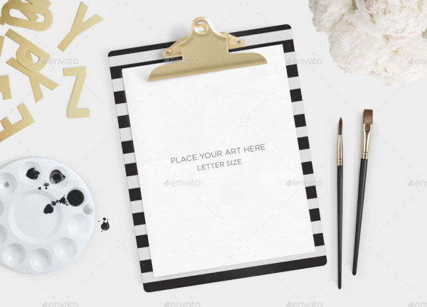 Gold Clipboard Psd Mockup