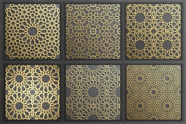Gold Islamic Pattern Set