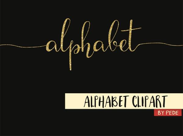 Gold glitter alphabets