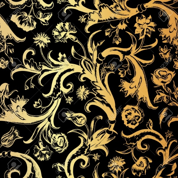 Gold swirls in baroque style