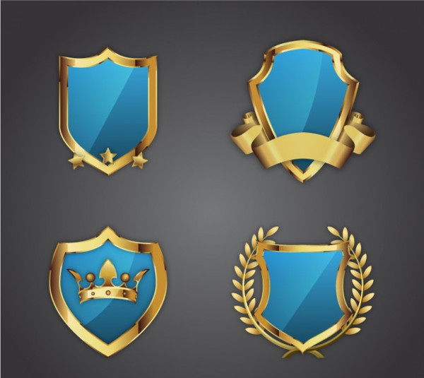 Golden Ornamental Shields Vector