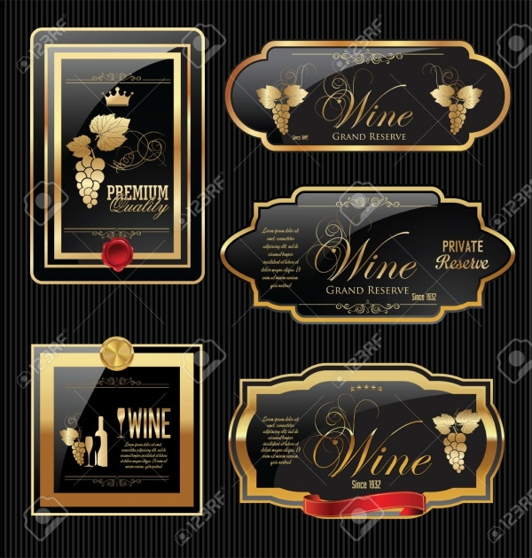 Golden Wine Label Vector Design