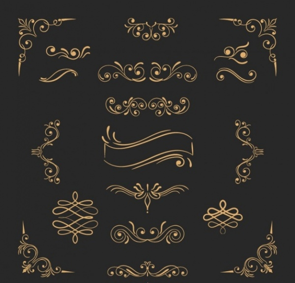 Golden ornaments Vector