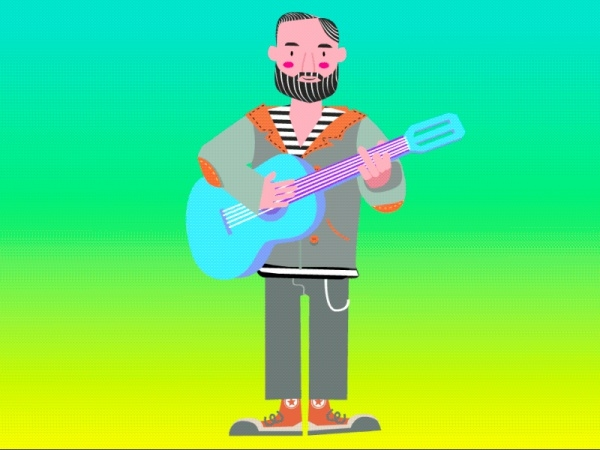 Graphic Animated Hipster