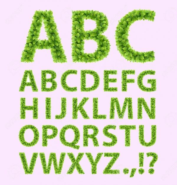 Green Leaves font Vector illustration
