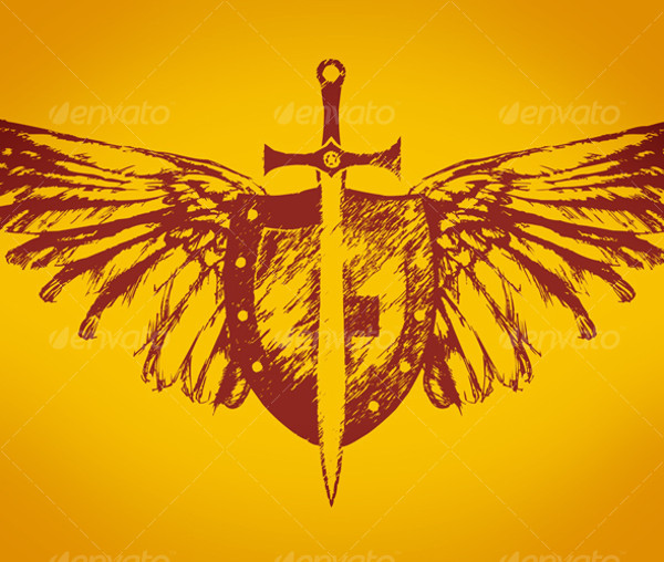 Grunge winged shield vector