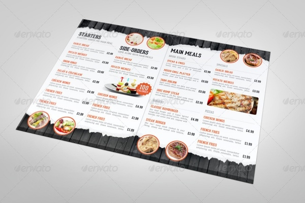 Half Fold Restaurant Menu Mock-up