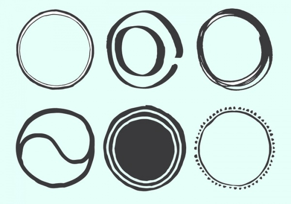 Hand Drawn Assorted Circle Vector