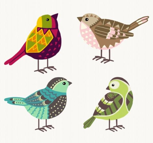 Hand drawn geometric birds Vector