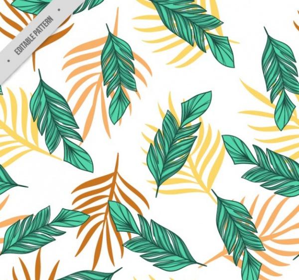 hand drawn palm leaves pattern