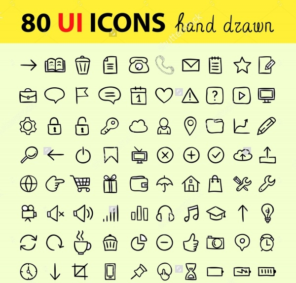 Hand drawn user interface icons