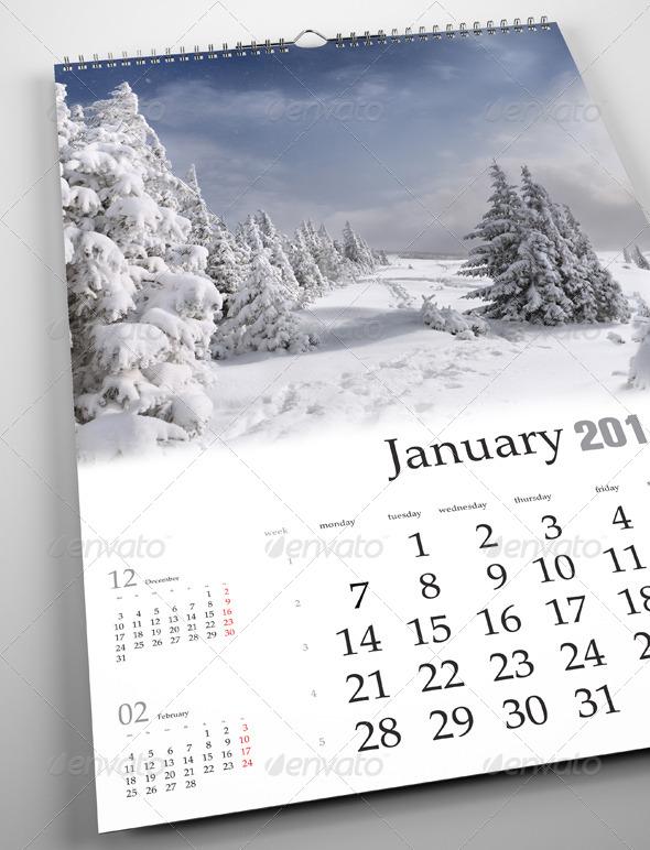 horizontal calendar psd mockup